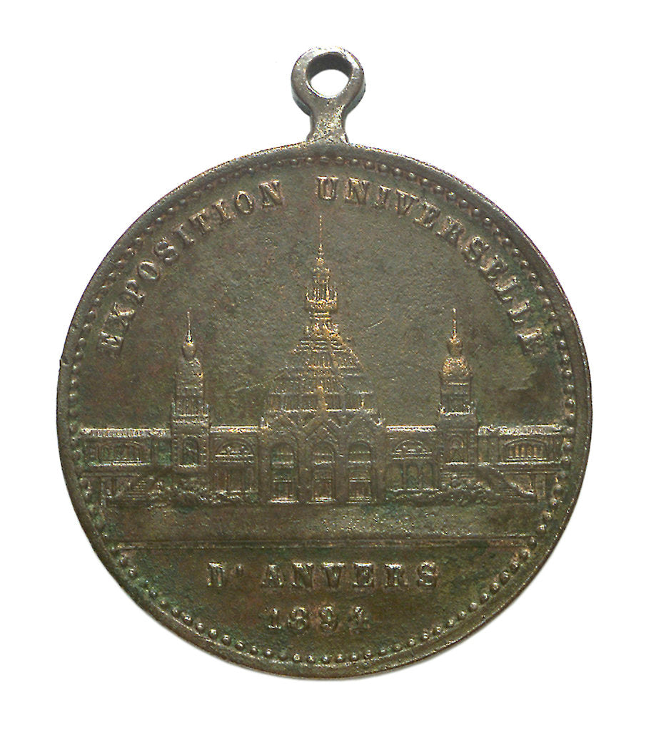 Detail of Medal commemorating the Universal Exhibition at Antwerp, 1894; obverse by unknown