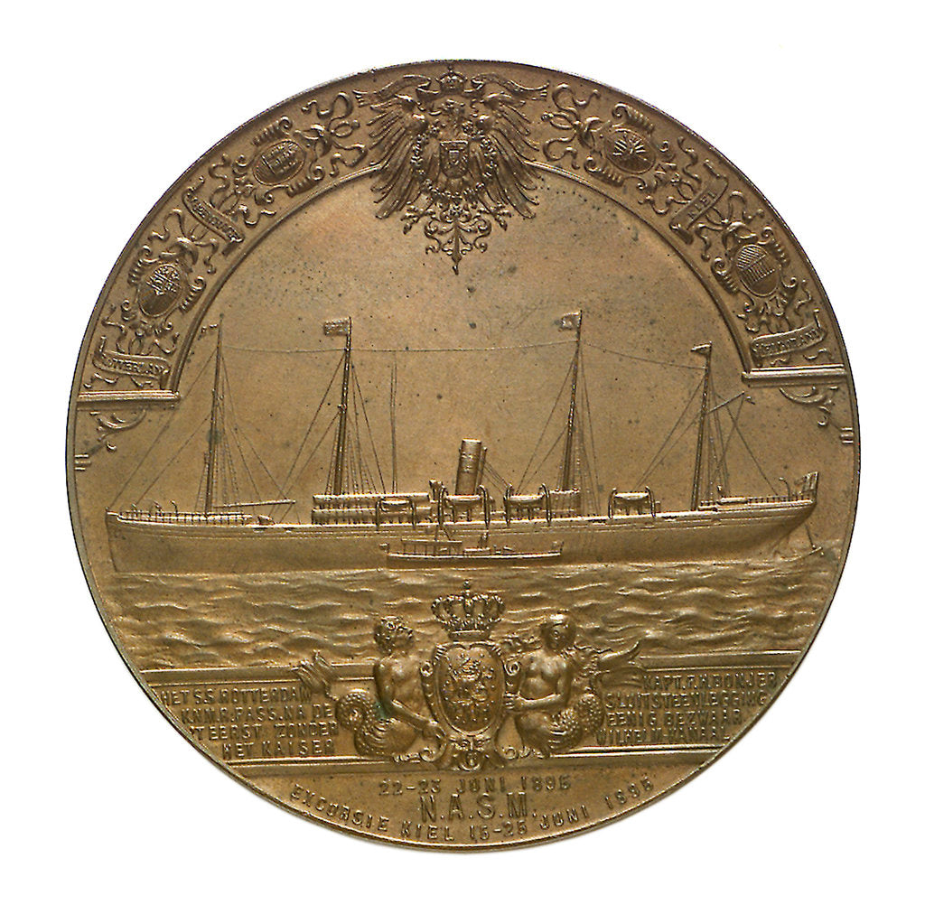 Detail of Medal commemorating the SS 'Rotterdam' and the Kiel Canal; obverse by B. Veth