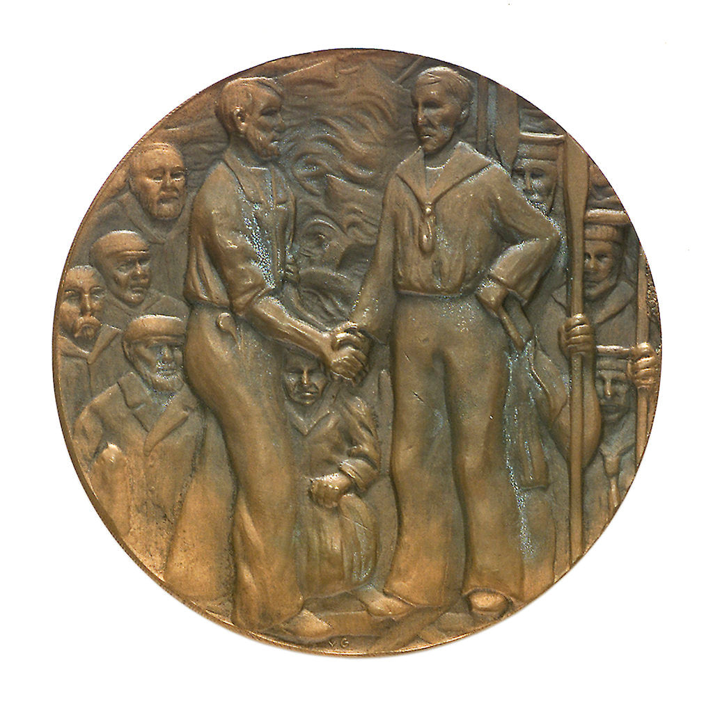Detail of Medal commemorating the rescue of the crews of seven Dutch merchantmen; obverse by J.J. van der Goor