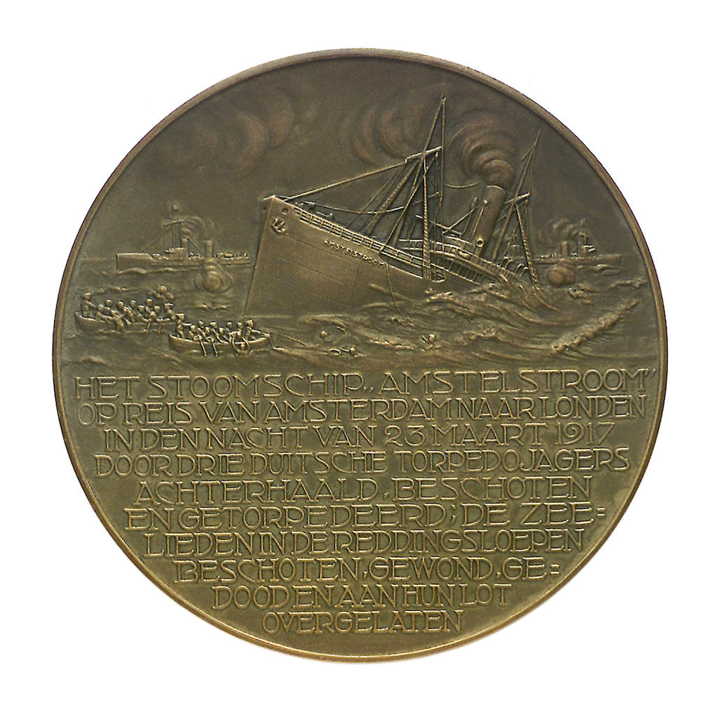 Detail of Medal commemorating the SS 'Amstelstroom' torpedoed, 1917; reverse by unknown