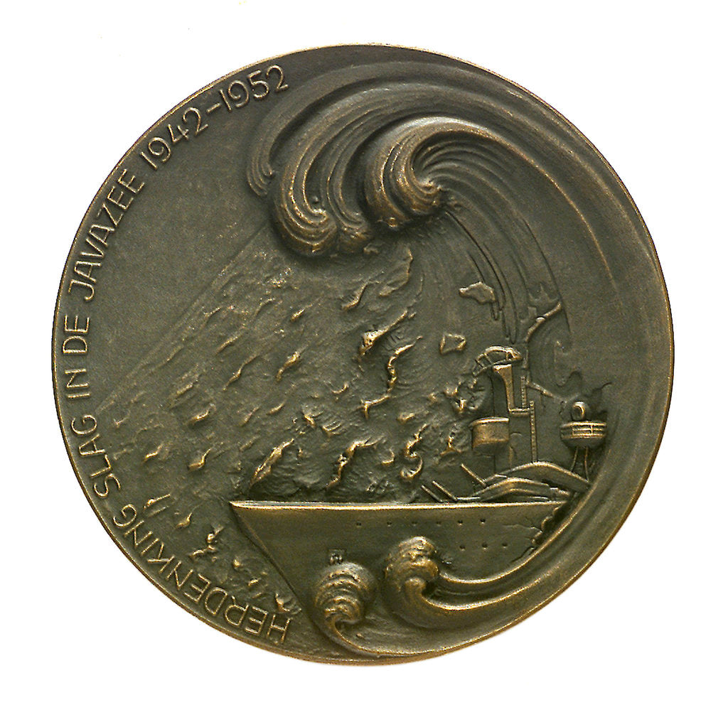 Detail of Medal commemorating the combined action in the Java Sea 1942-1952; obverse by B. Liefting