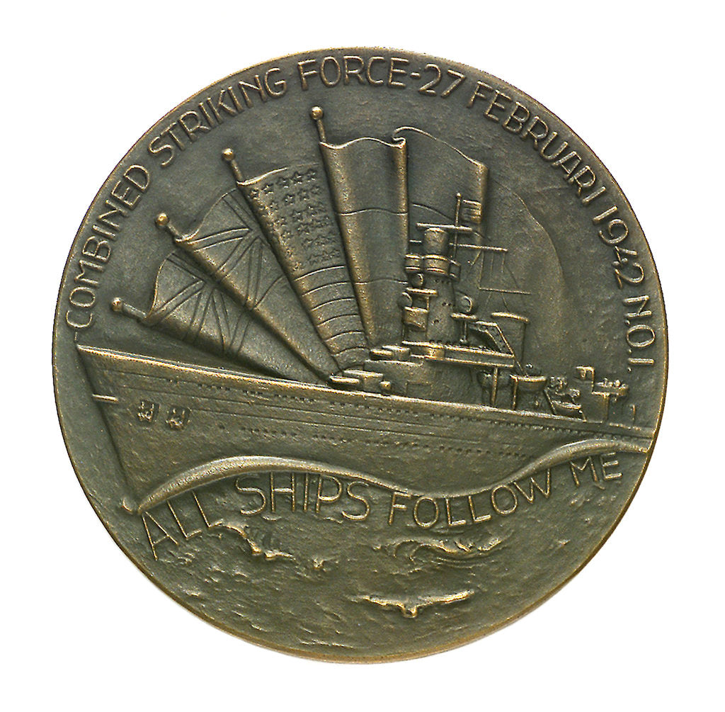 Detail of Medal commemorating the combined action in the Java Sea 1942-1952; reverse by B. Liefting