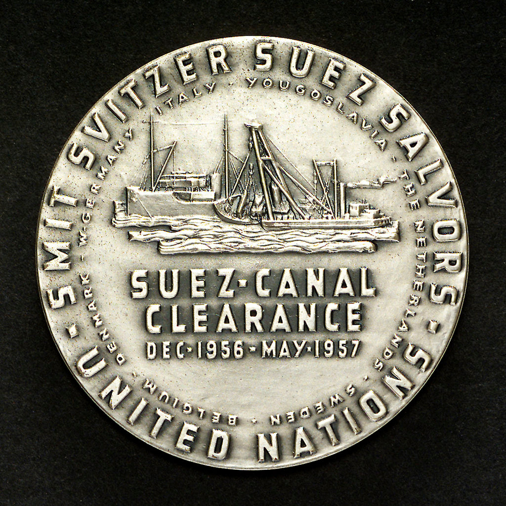 Detail of Medal commemorating the Suez Canal Clearance 1956-1957; reverse by M. Kutterink