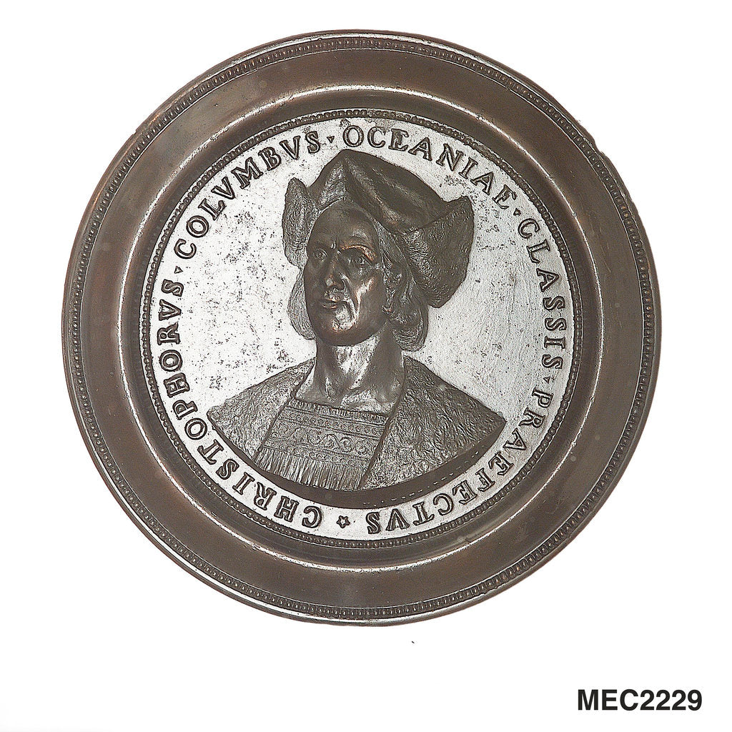 Detail of Medal commemorating the 400th anniversary of Christopher Columbus's discovery of America, 1492-1892 by U.A. Bizzarri