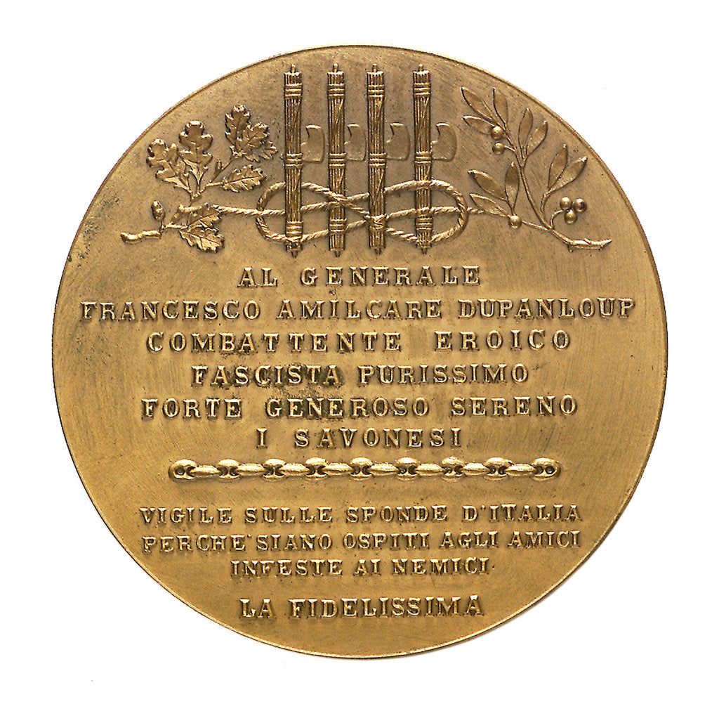 Detail of Medal commemorating General Francesco Amilcare Dupanloup from the inhabitants of Savona; reverse by unknown