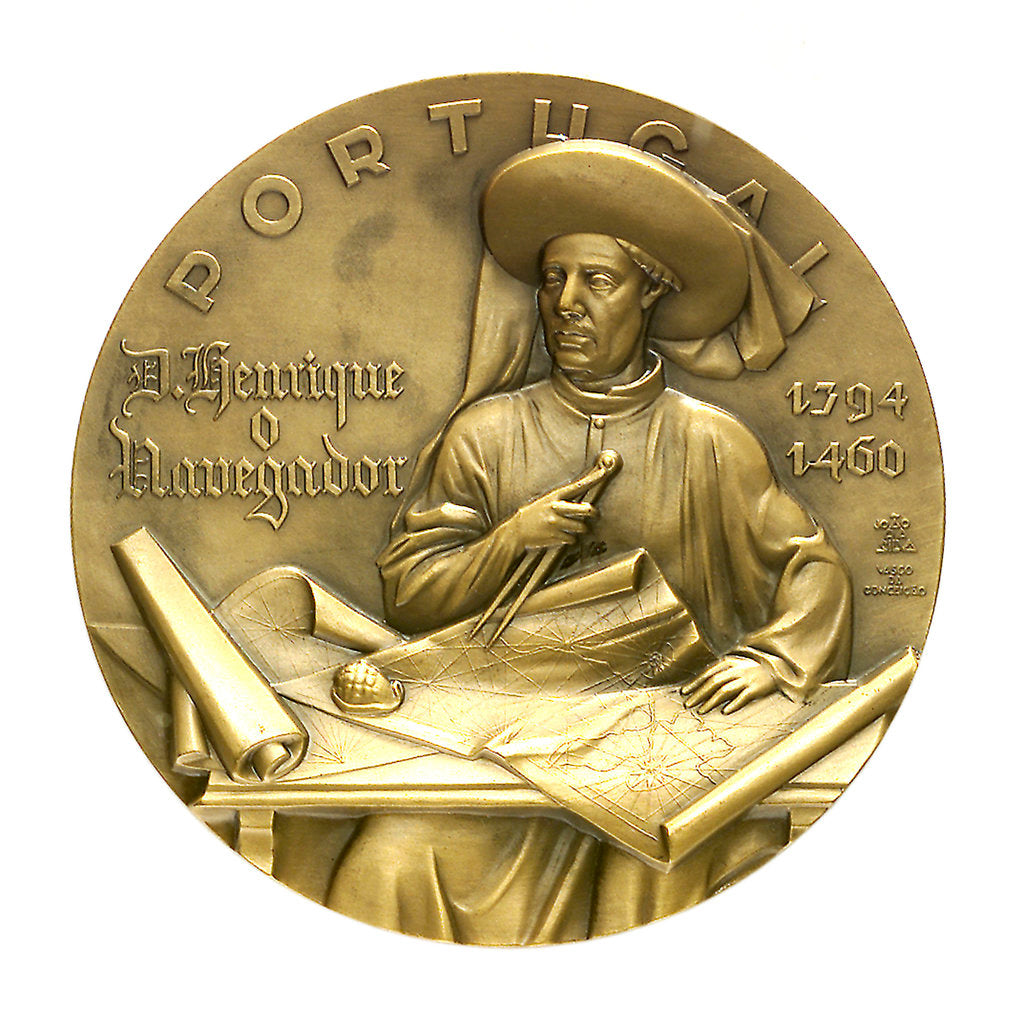 Detail of Medal commemorating the 5th centenary of the death of Henry the Navigator, 1960; obverse by J. da Silva