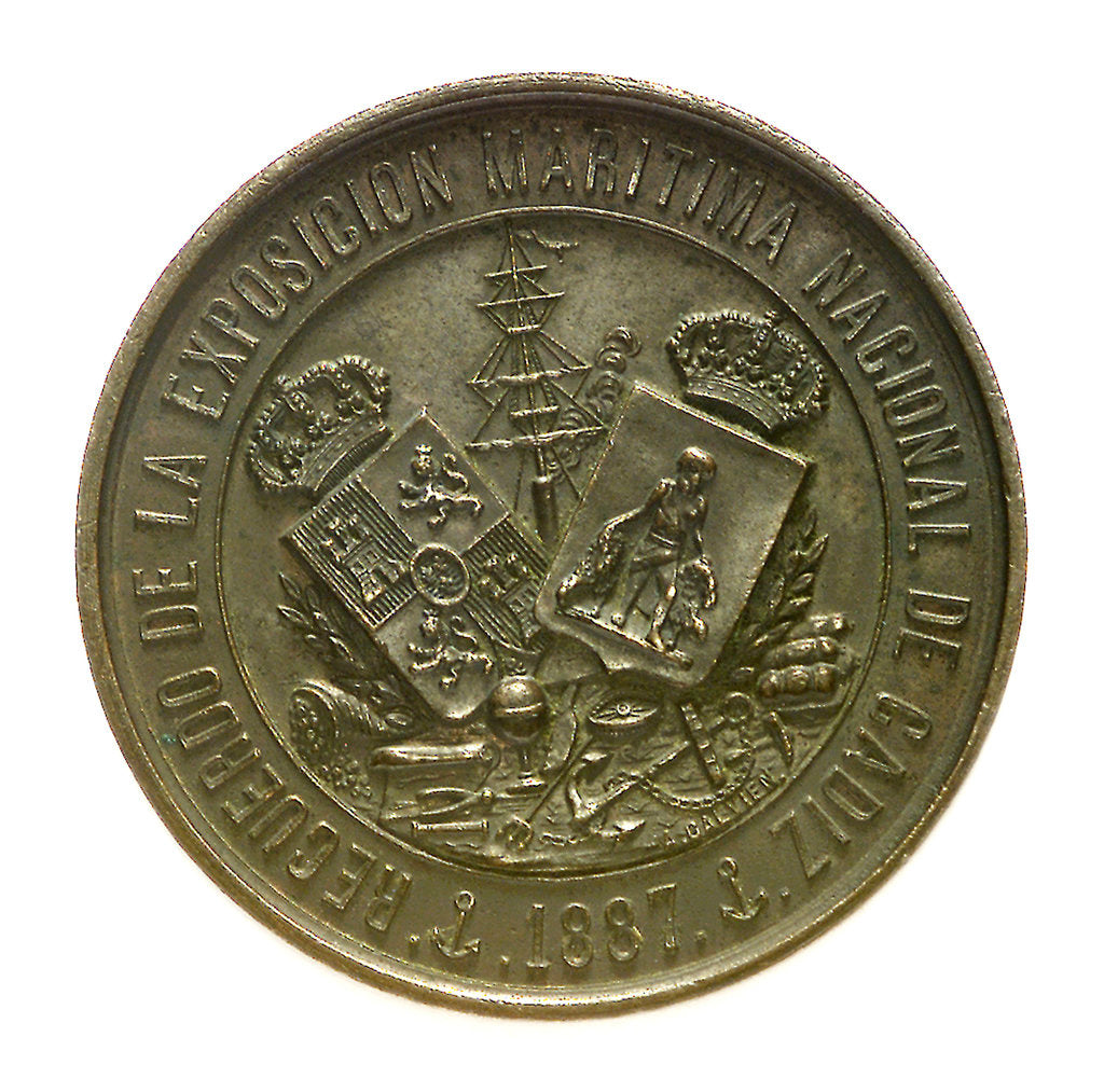 Token commemorating the National Maritime Exhibition of Cadiz, 1887; obverse by A. Galvien