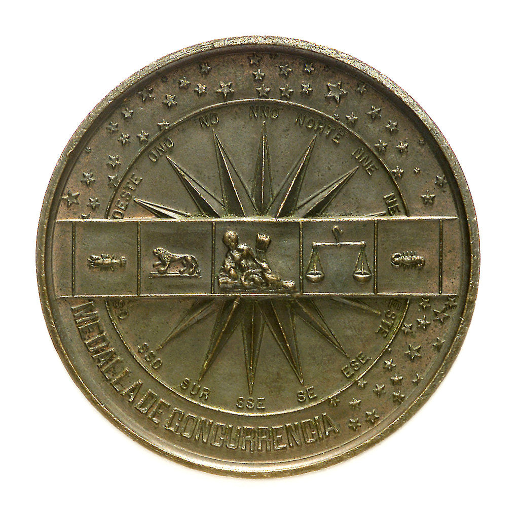 Detail of Token commemorating the National Maritime Exhibition of Cadiz, 1887; reverse by A. Galvien
