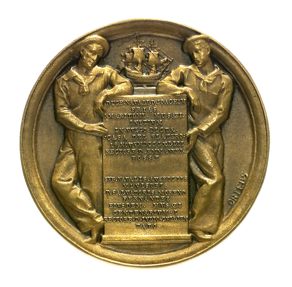 Token commemorating the National Maritime Exhibition of Cadiz, 1887; obverse by Ortells