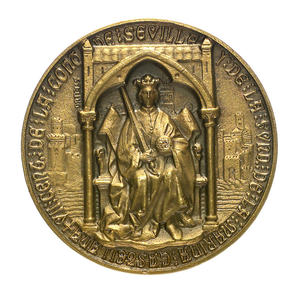 Detail of Medal commemorating the 7th centenary of the conquest of Seville and foundation of the Castilian Navy; obverse by unknown