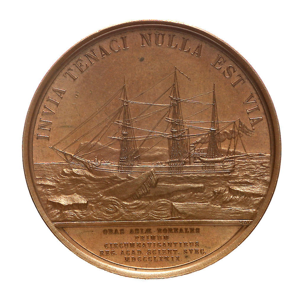Detail of Medal commemorating the first navigation of the North East Passage, 1879; reverse by Lea Ahlborn