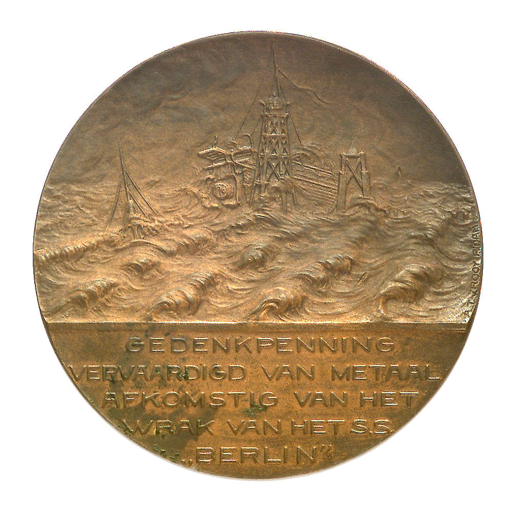 Detail of Medal commemorating the wreck of the SS 'Berlin', 1907; obverse by A.T. van Rooy