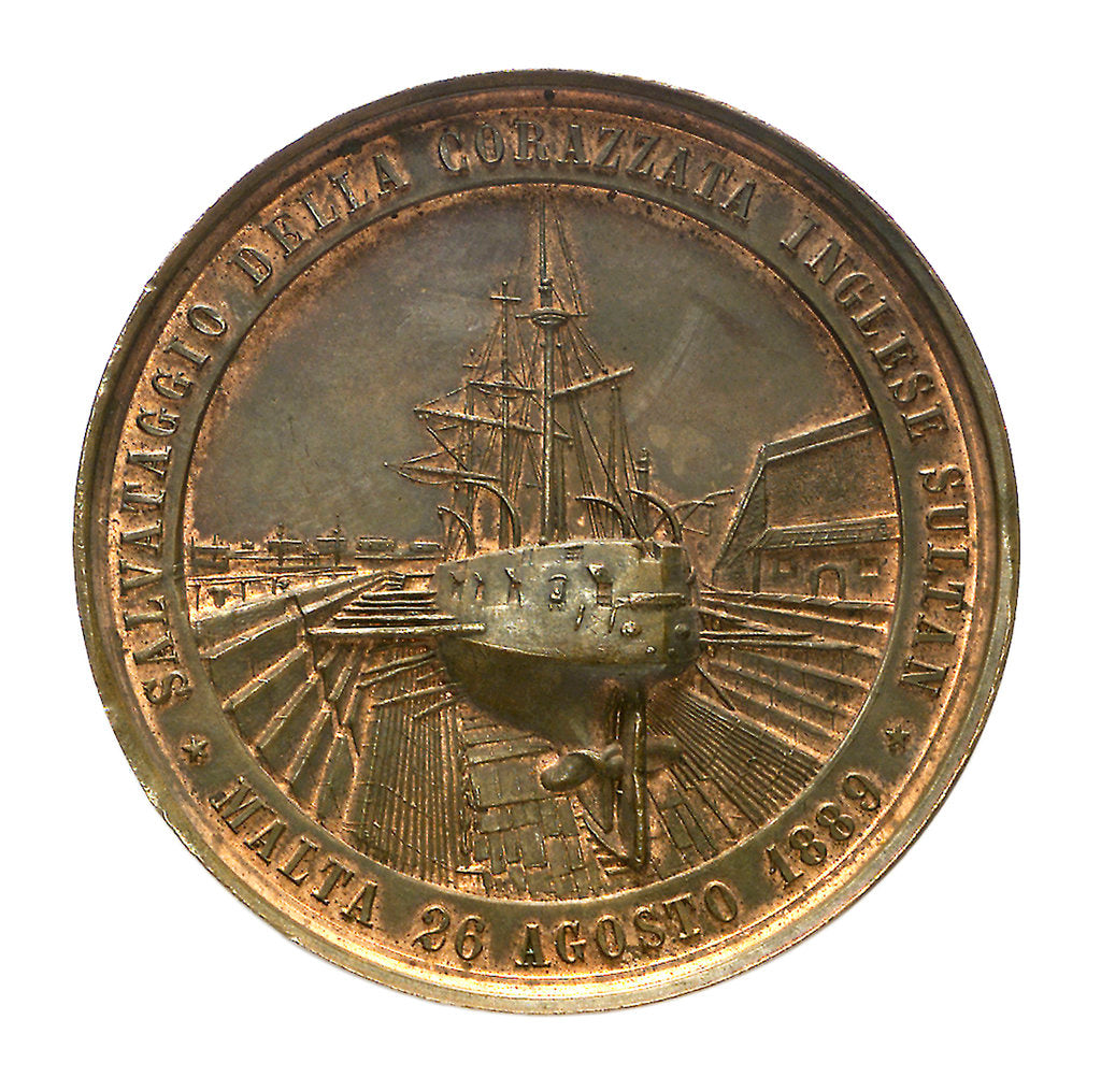 Detail of Medal commemorating the raising of HMS 'Sultan', 1889; reverse by P. Ferrea