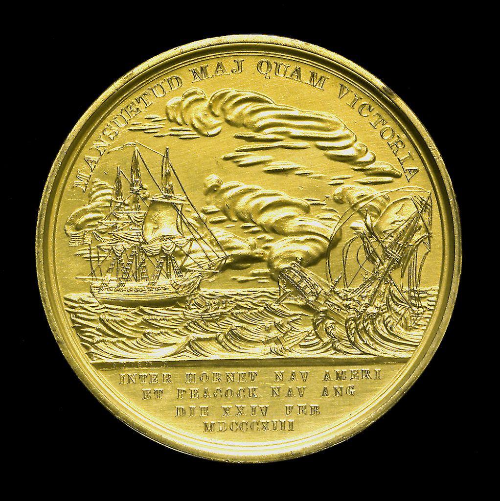 Detail of Medal commemorating the capture of HMS 'Peacock', 1813; reverse by Moritz Furst