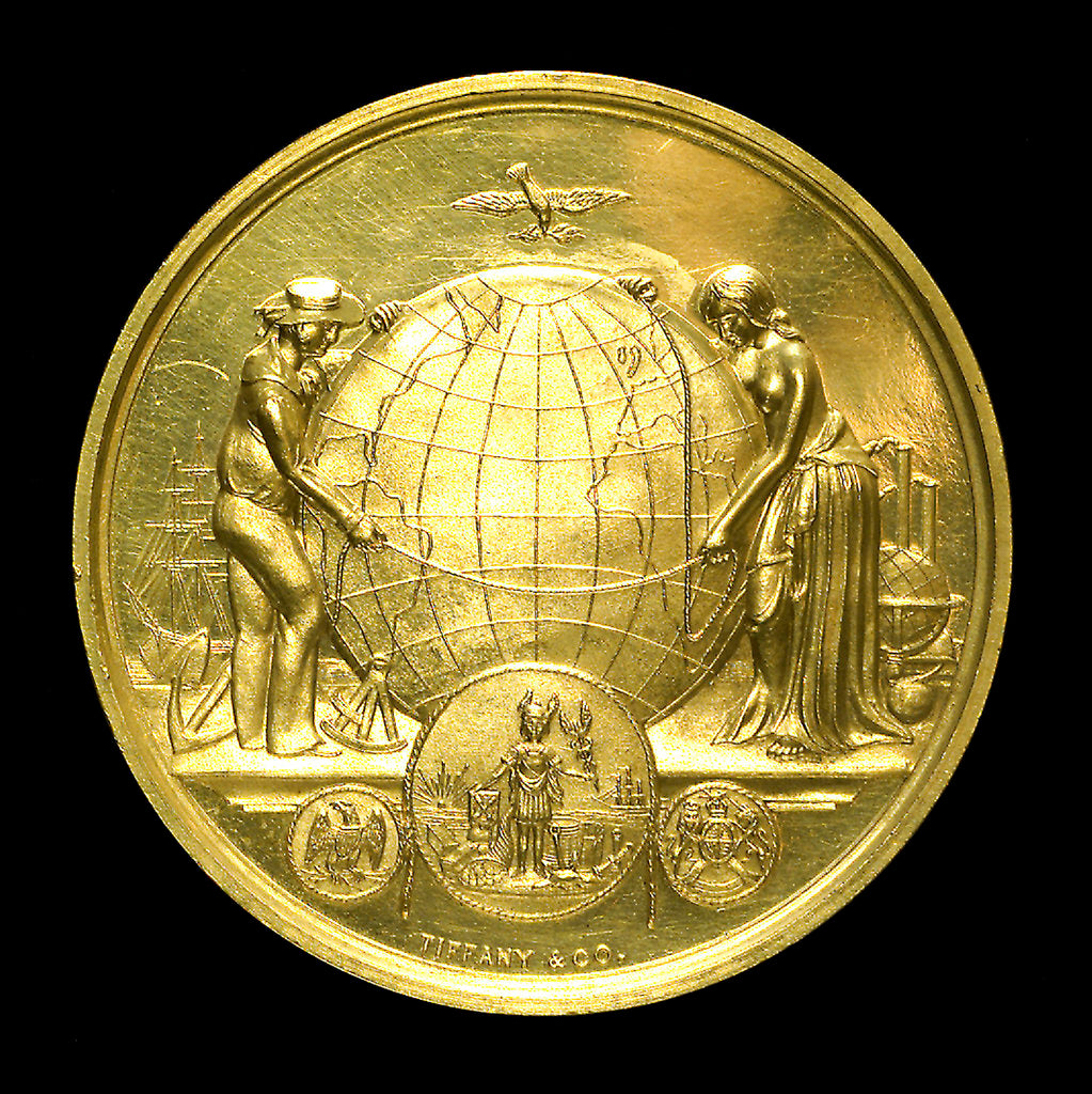 Detail of Medal commemorating the first transatlantic cable, 1858; obverse by Tiffany & Co.