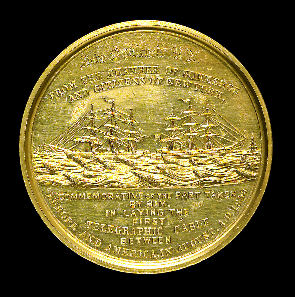 Detail of Medal commemorating the first transatlantic cable, 1858; reverse by Tiffany & Co.