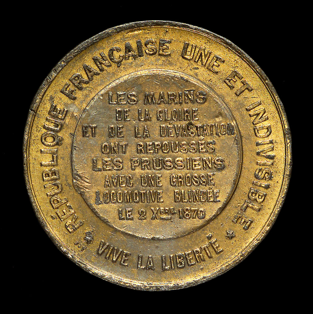 Detail of Medal commemorating the siege of Paris and the French Naval Brigade, 1870; reverse by unknown