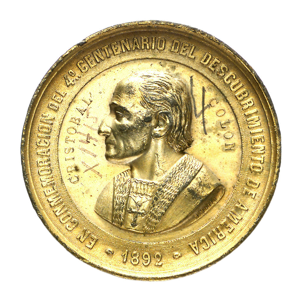 Medal commemorating the 4th centenary of the discovery of America, 1892; obverse by B. Muzio