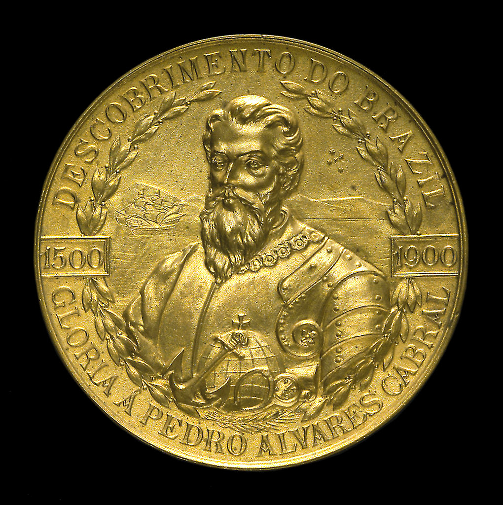 Detail of Medal commemorating the 4th centenary of the discovery of Brazil, 1900; obverse by Lauer Bros.