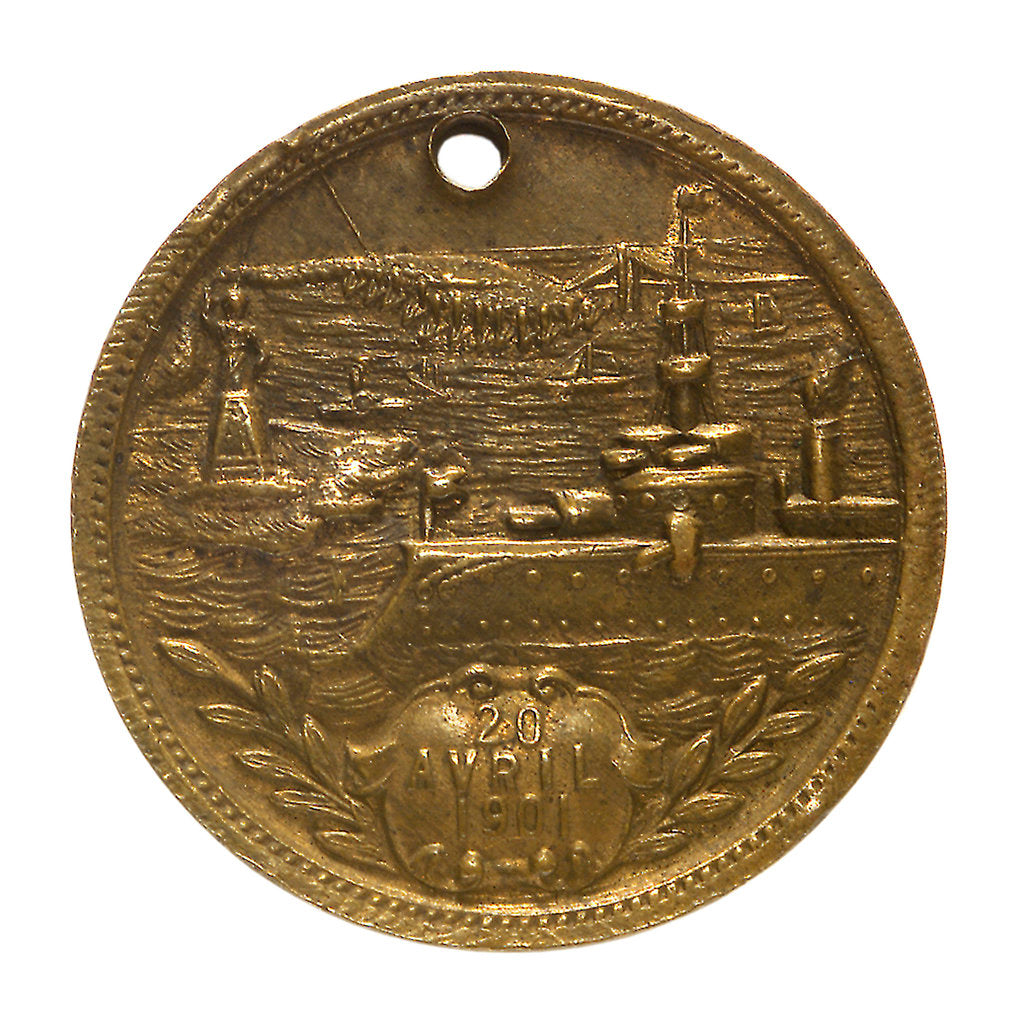 Detail of Medal commemorating the visit of the 'Duguay-Trouin' to New York, 1900; obverse by unknown