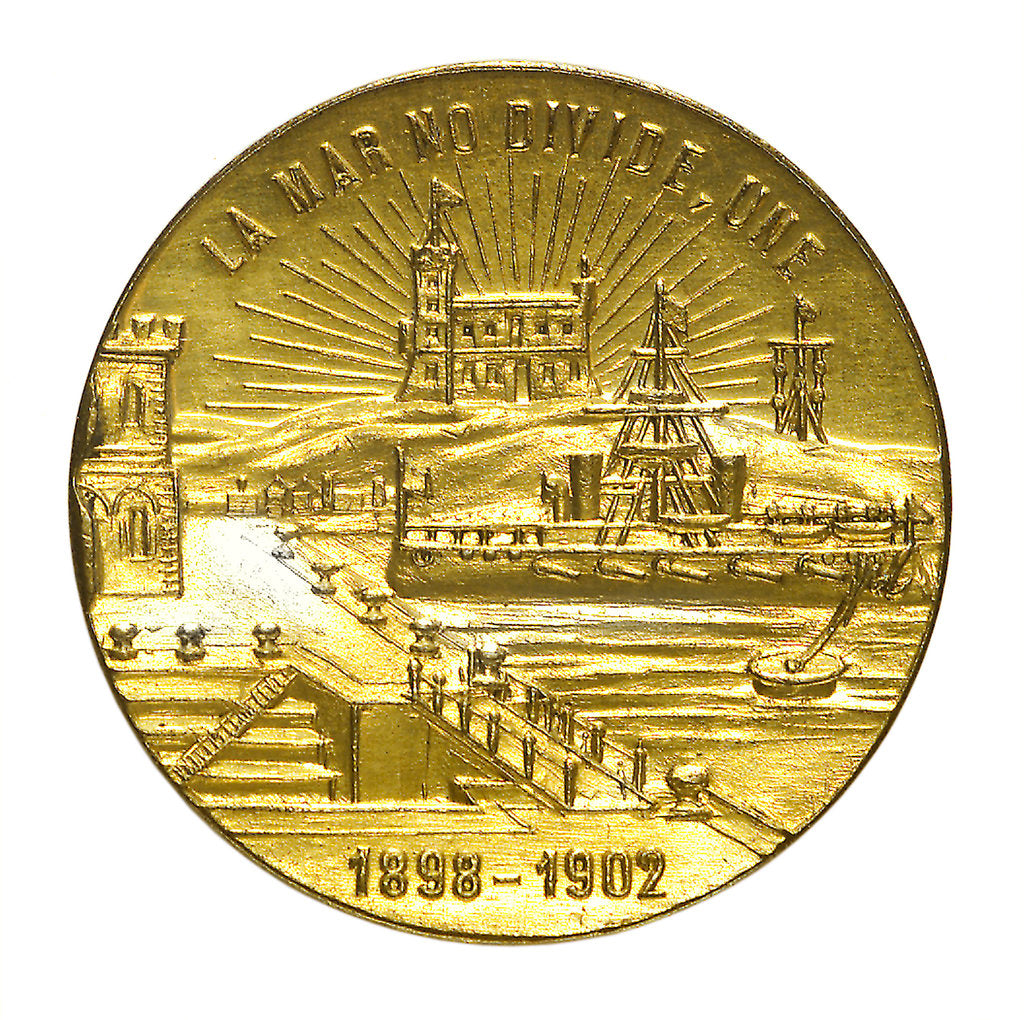 Detail of Medal commemorating the inauguration of the Dock of Carena, Puerto Militar, 1902; reverse by unknown