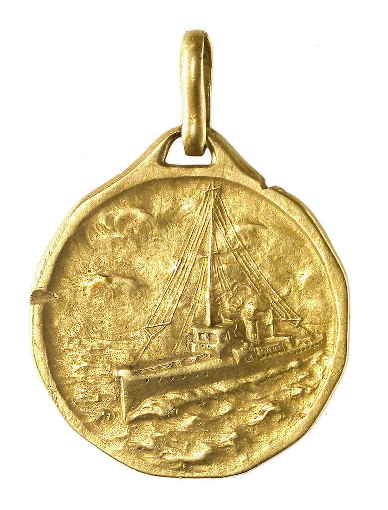 Detail of Medal commemorating the Royal torpedo boat service; obverse by A. Santi