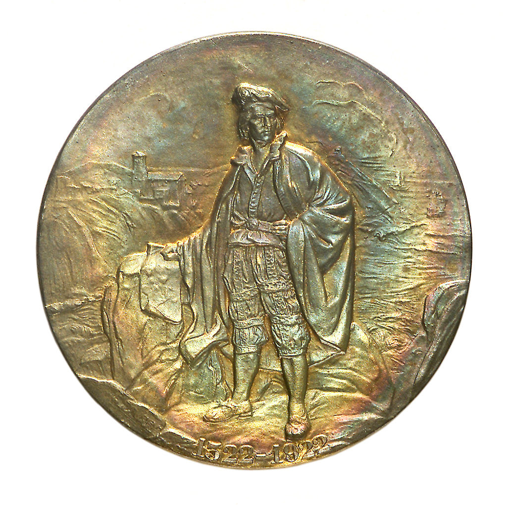 Detail of Medal commemorating the 400th anniversary of the discoverer Juan Sebastian del Cano, 1922; obverse by unknown