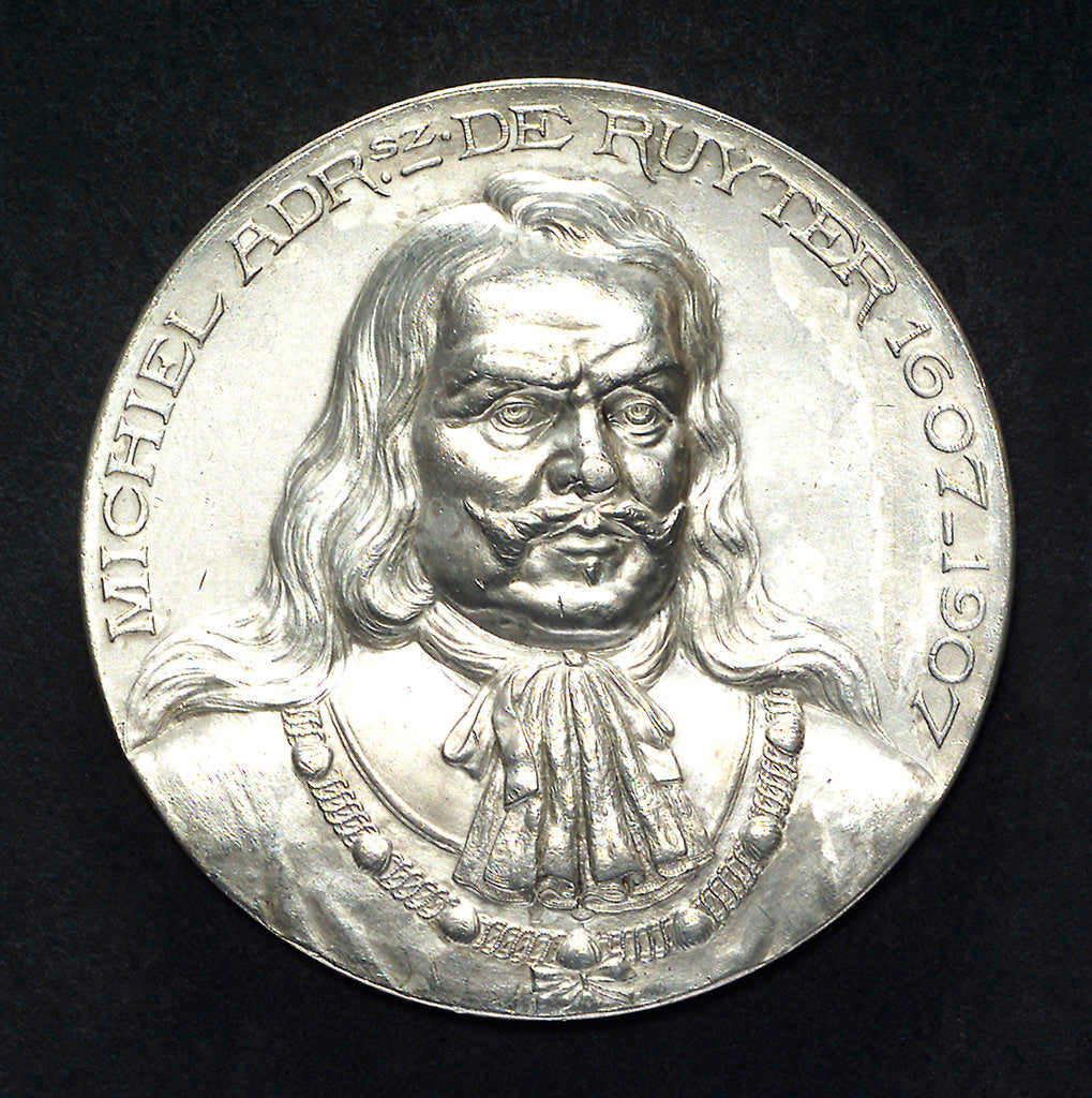 Detail of Medal commemorating the tercentenary of the birth of Admiral de Ruyter, 1997; obverse by J.J. van der Goor