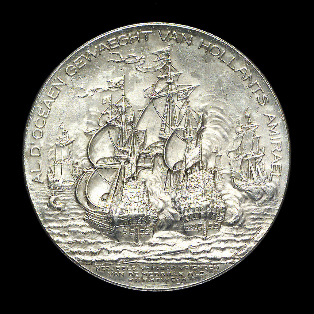 Detail of Medal commemorating the tercentenary of the birth of Admiral de Ruyter, 1997; reverse by J.J. van der Goor