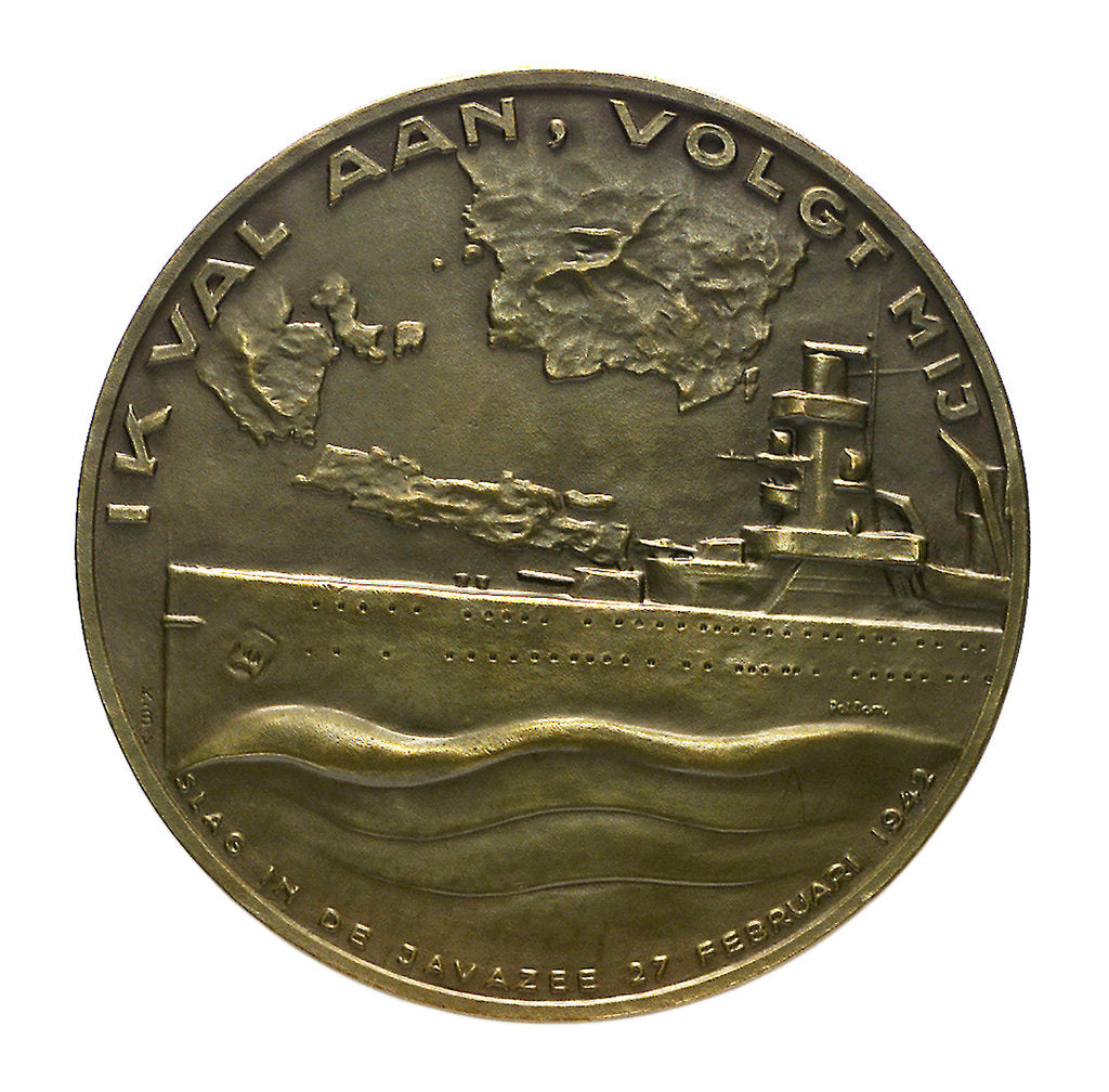 Detail of Medal commemorating the Battle of the Java Sea, 1942; reverse by Poldon