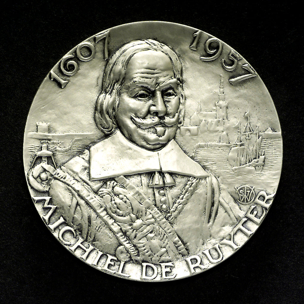 Mining badge commemorating the 350th Anniversary of the birth of Admiral de Ruyter, 1957; obverse by unknown