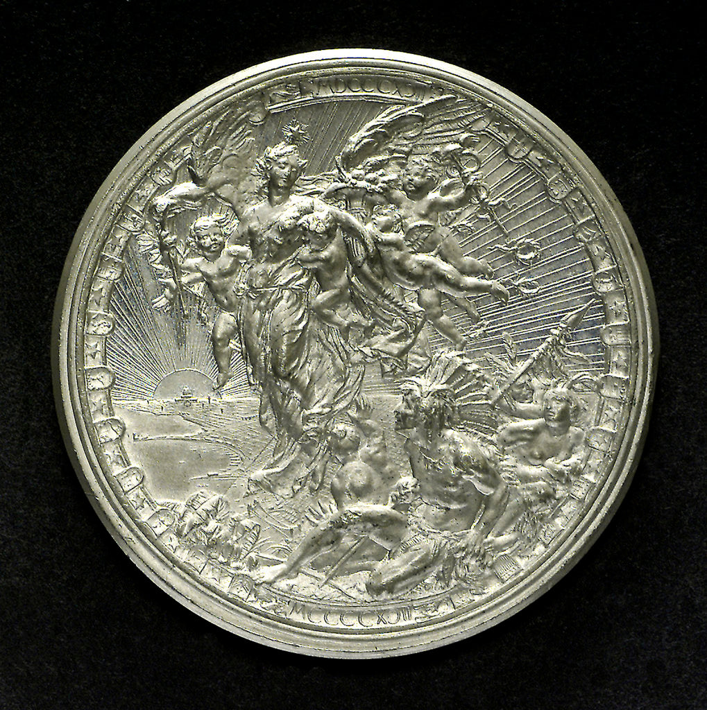 Detail of Medal commemorating the fourth centenary of the discovery of America, 1892; reverse by L. Pogliaghi