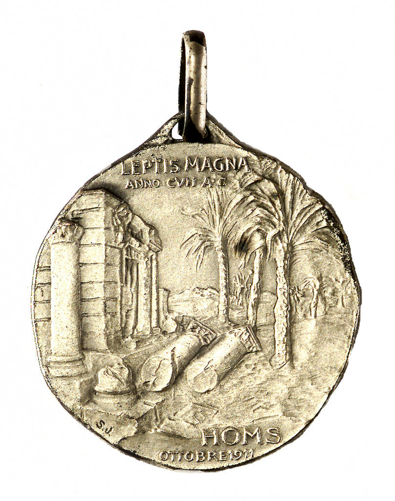 Detail of Medal commemorating the landing at Homs, 1911; reverse by Stefano Johnson