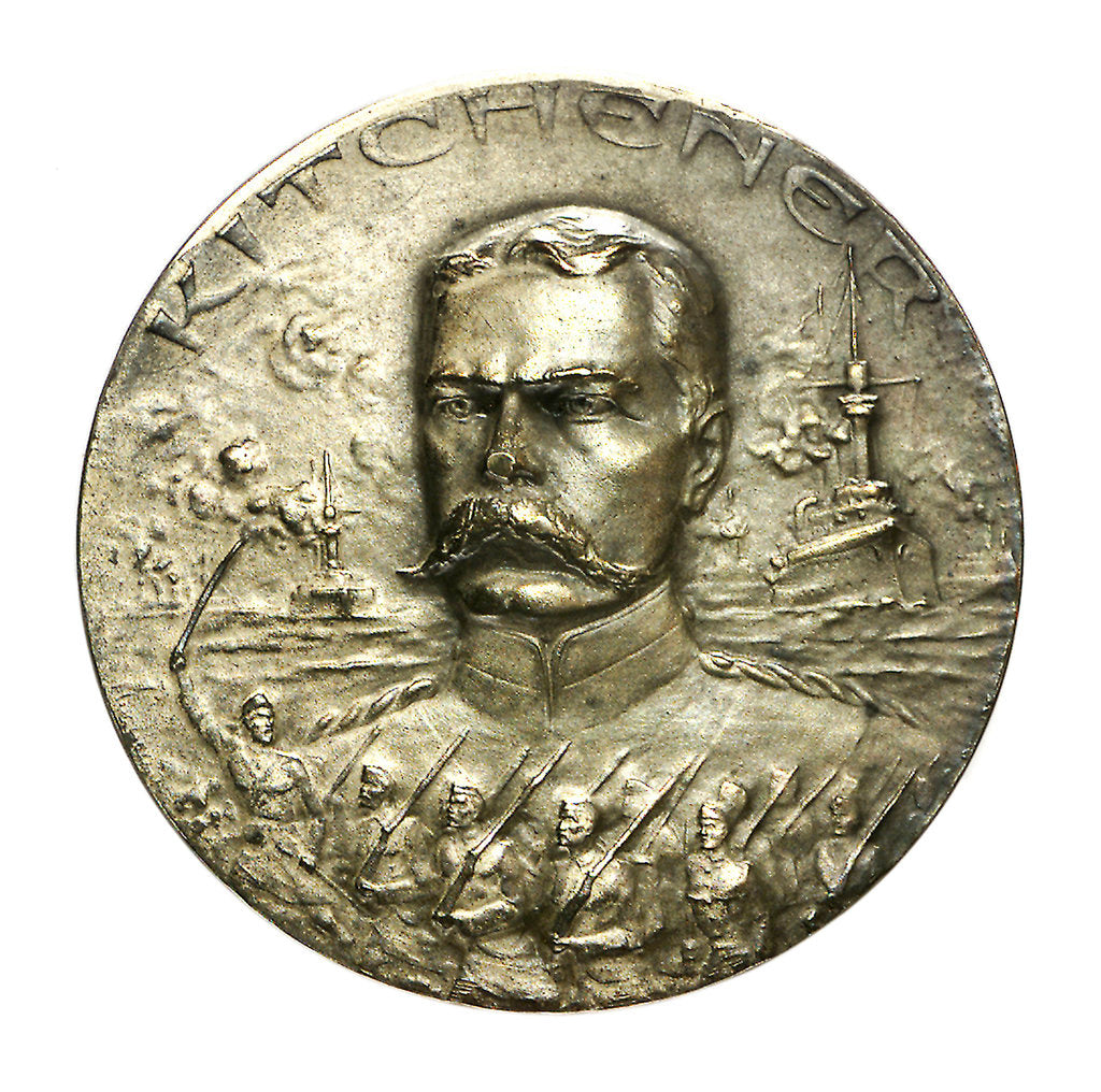 Detail of Medal commemorating the death of General Lord Kitchener, 1916+; obverse by H. Huguenin