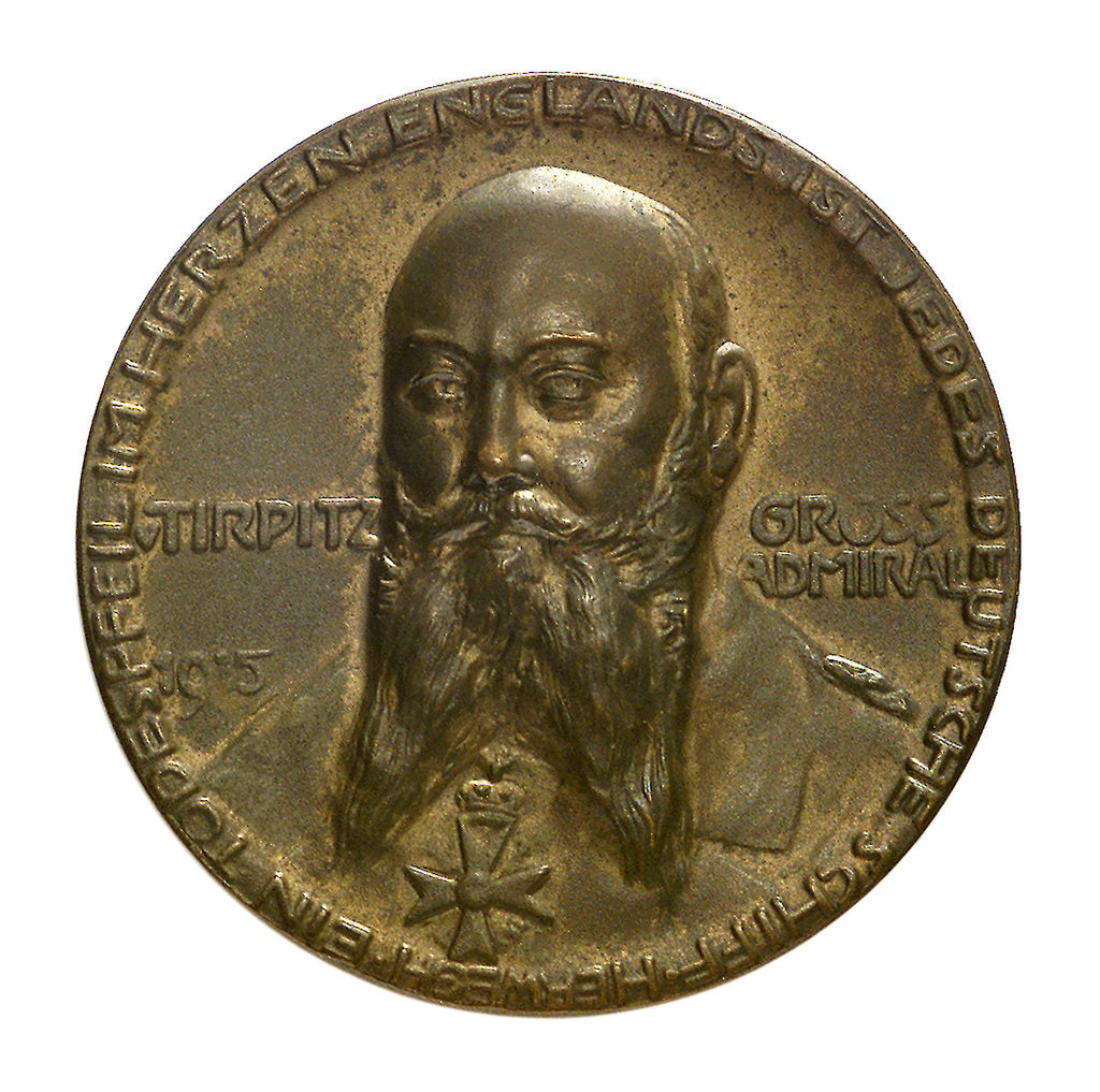 Detail of Medal commemorating Grossadmiral Alfred von Tirpitz (1849-1930); obverse by P. Sturm