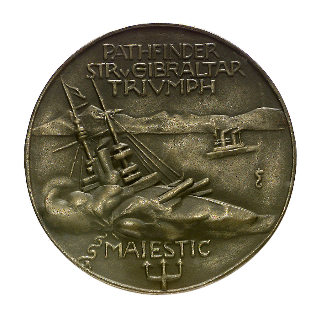 Detail of Medal commemorating Lieutenant Otto Hersing and the sinking of 'Pathfinder', 'Triumph' and 'Majestic' by 'U21', 1915; reverse by unknown