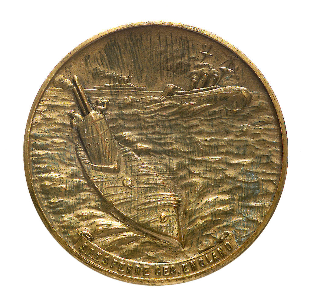 Detail of Medal commemorating Captain-Lieutenant Otto von Weddigen (1882-1915) submarine commander; reverse by unknown