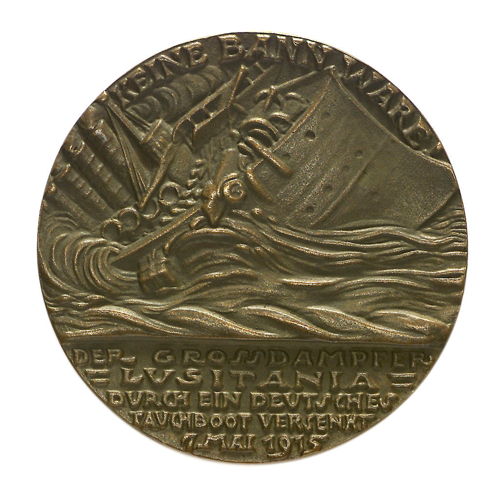 Detail of Medal commemorating the sinking of the SS 'Lusitania', 1915; reverse by Karl Goetz
