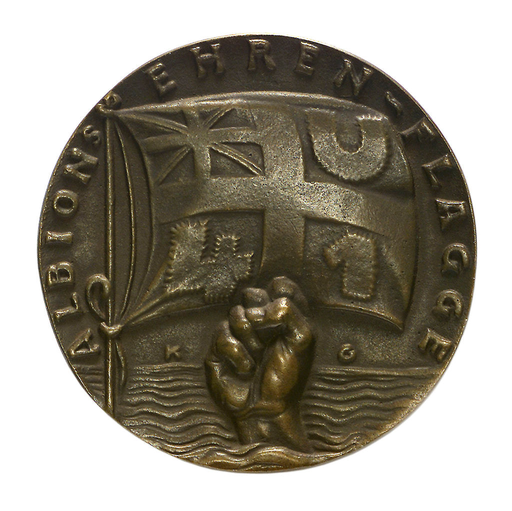 Detail of Medal commemorating the sinking of 'U41' by Q-ship 'Baralong', 1915; obverse by Karl Goetz