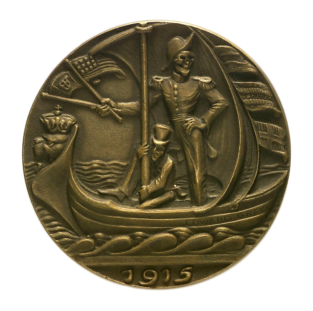 Detail of Medal commemorating Sir Edward Grey (1862-1933) and neutral shipping; obverse by Karl Goetz