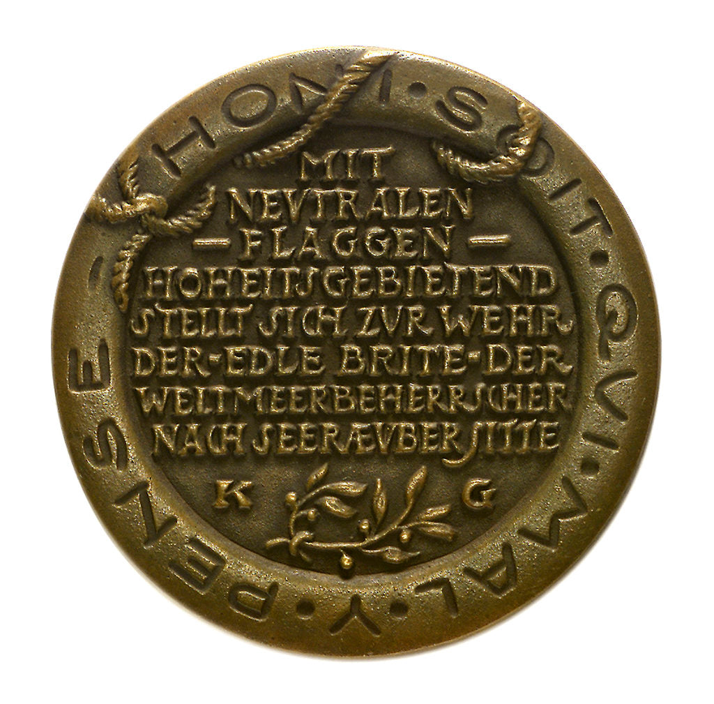 Detail of Medal commemorating Sir Edward Grey (1862-1933) and neutral shipping; reverse by Karl Goetz