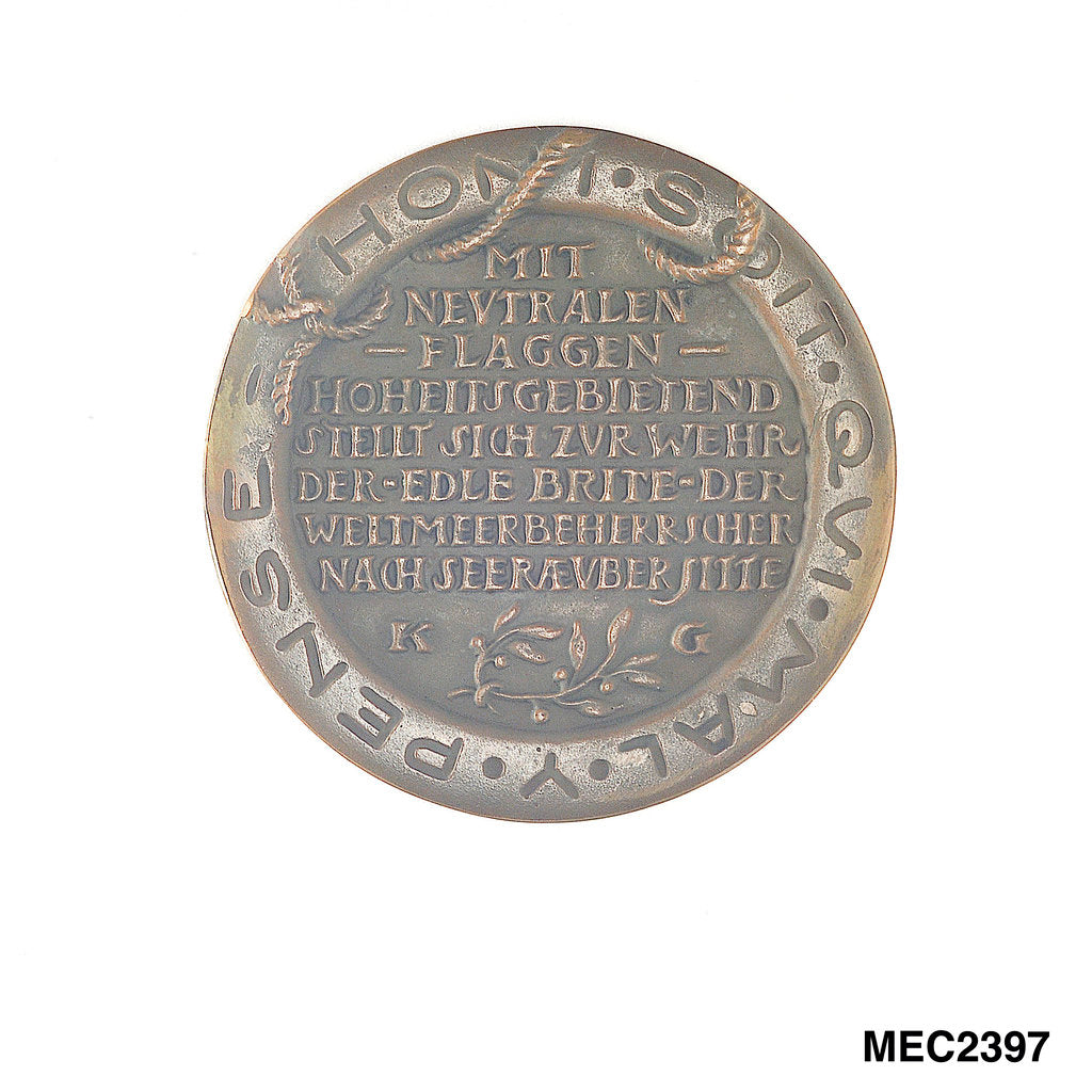Detail of Medal commemorating Sir Edward Grey (1862-1933) and neutral shipping by Karl Goetz