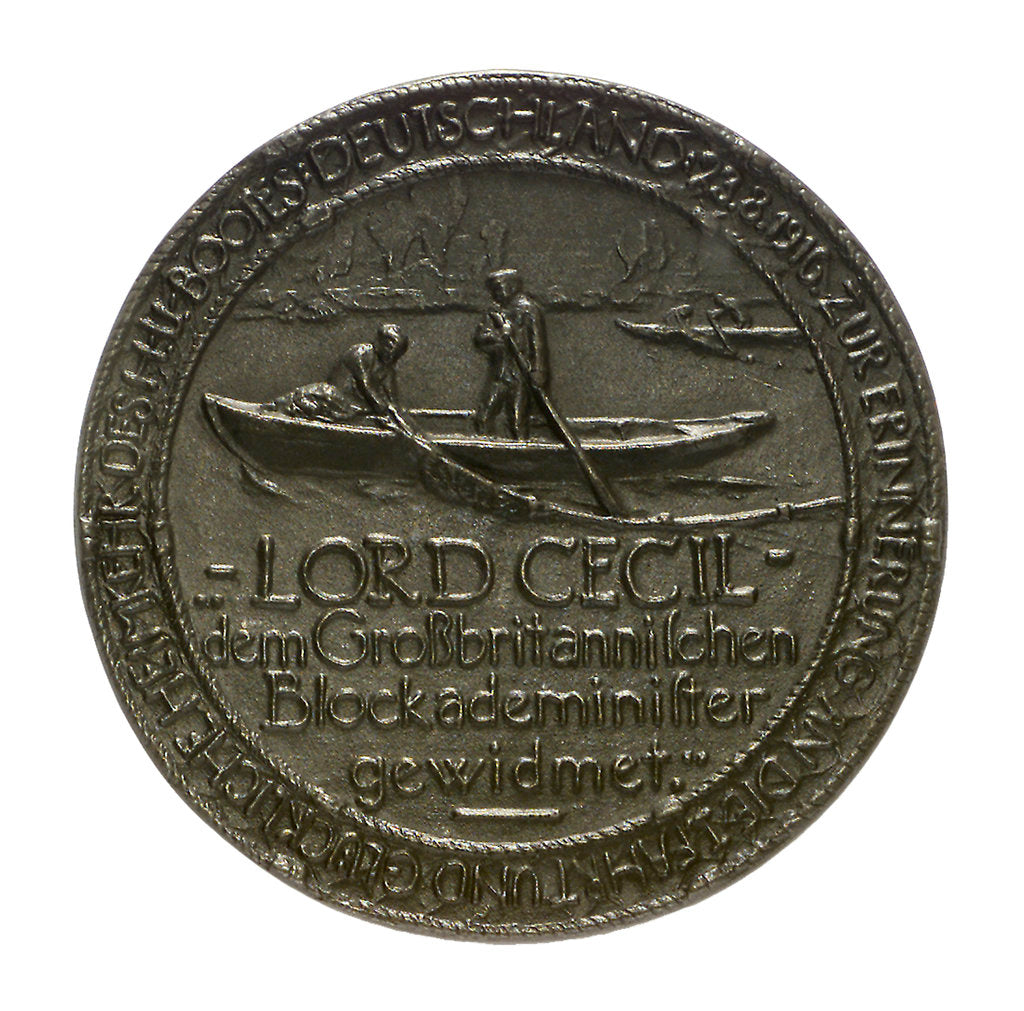 Detail of Medal commemorating the return of the submarine 'Deutschland', 1916; reverse by E. Zehle