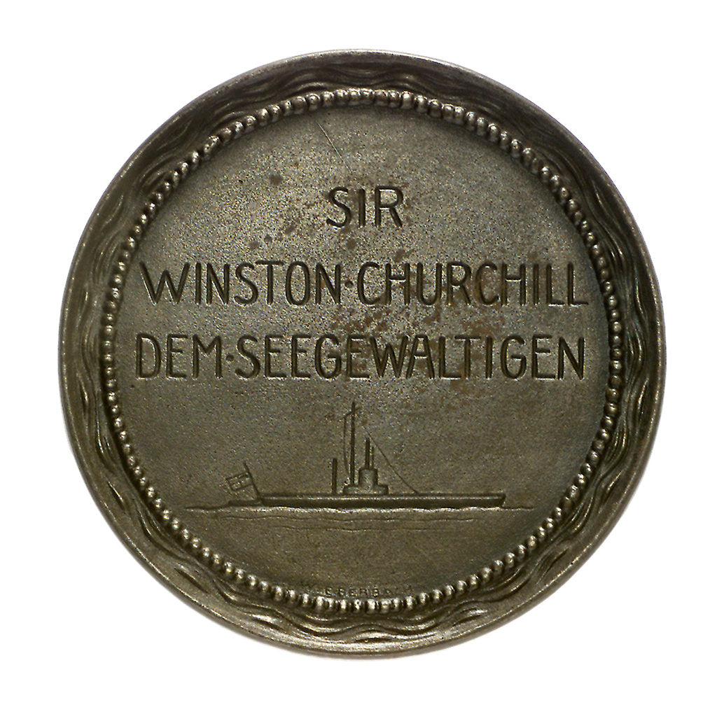 Detail of Medal commemorating Winston Churchill (1874-1965) First Lord of the Admiralty; reverse by W. Eberbach