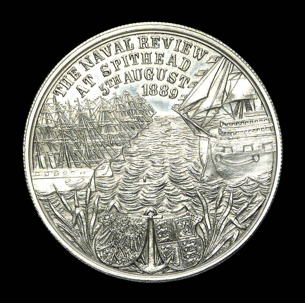 Detail of Medal commemorating the naval review at Spithead, 1889; reverse by unknown