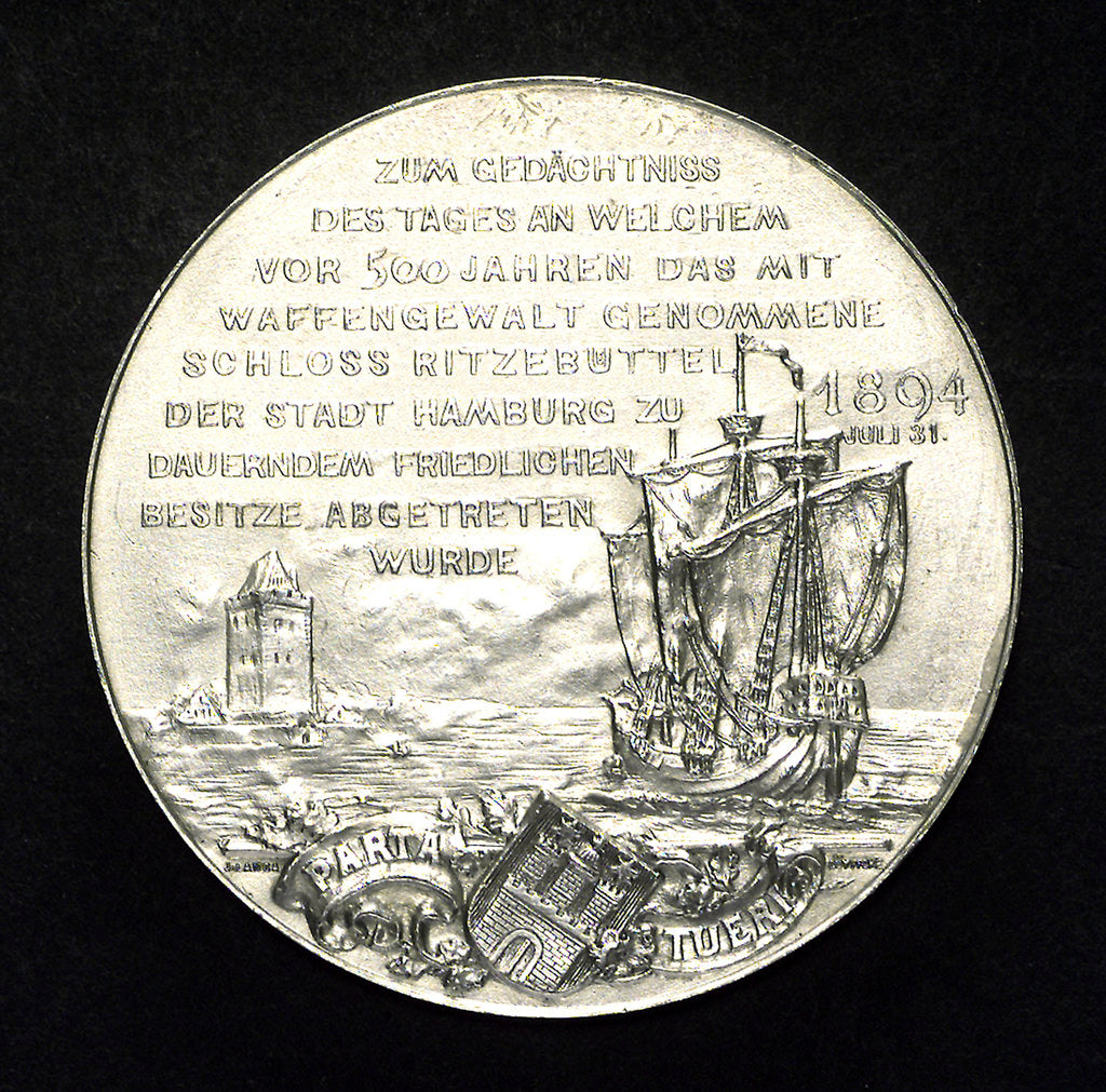 Detail of Medal commemorating the Union of Hamburg and the Castle of Ritzeb by J. Langa