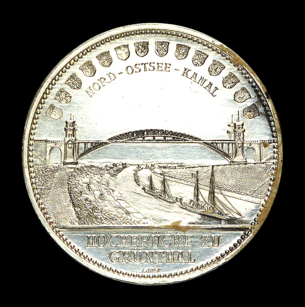 Detail of Medal commemorating the opening of the Kiel Canal, 1895; reverse by Lauer Bros.