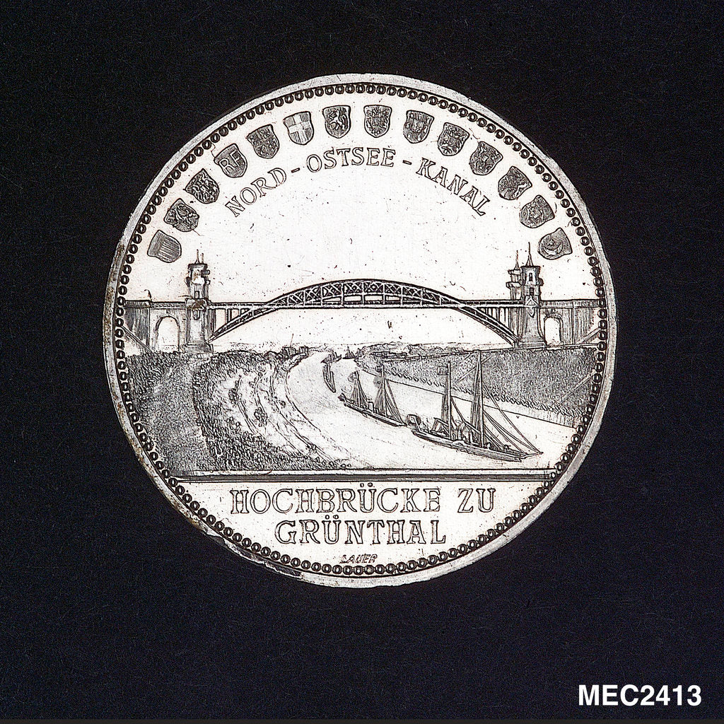 Medal commemorating the opening of the Kiel Canal, 1895; reverse by Lauer Bros.