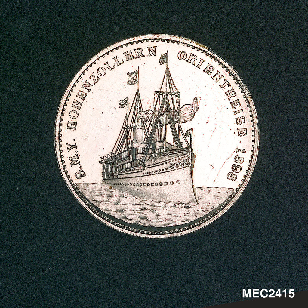 Detail of Medal commemorating the HIM yacht 'Hohenzollern' on her eastern cruise; reverse by Lauer Bros.