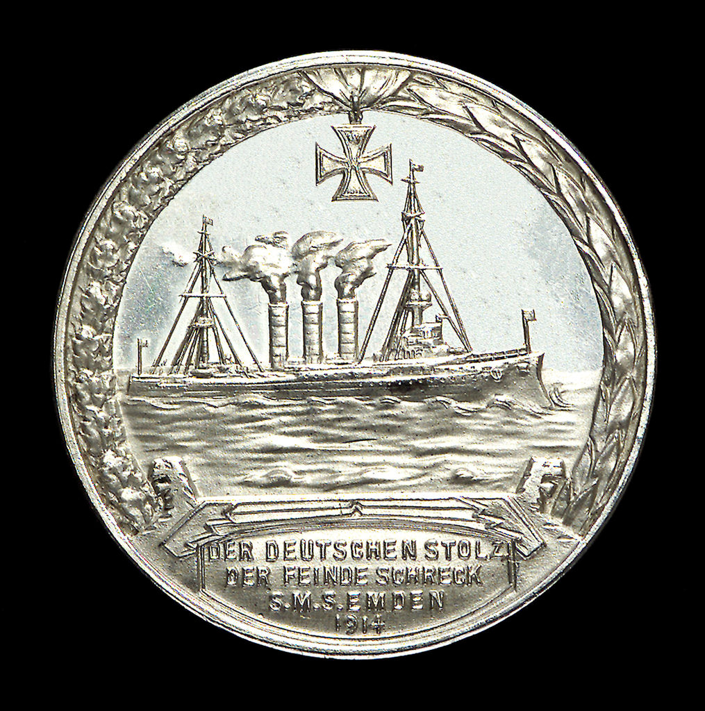 Detail of Medal commemorating Captain Karl von Müller (1873-1923) and the cruiser 'Emden' by L.C. Lauer